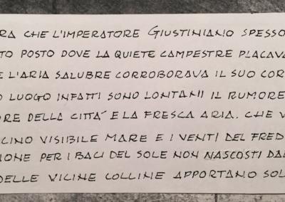 Giardino pubblico la Giustiniana - progetto premio prestigio Vivai Tor San Lorenzo - particolare epigrafe tradotta